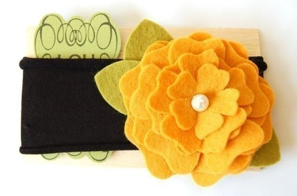 Mustard wool felt headband with pearl