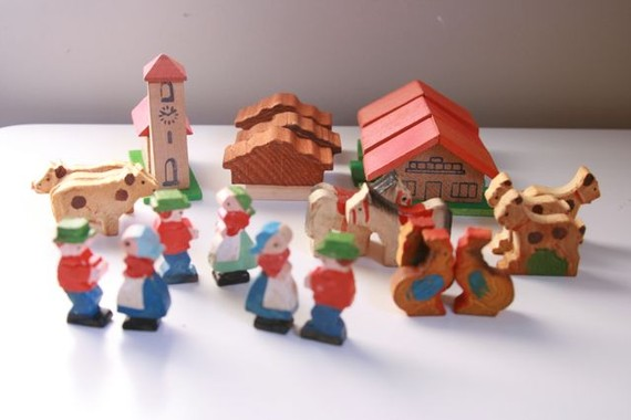 Vintage Italian cake toppers people houses and farm animals