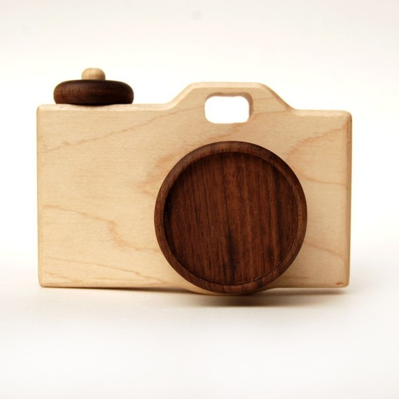 Organic CAMERA - natural wooden imagination toy stocking stuffer-1